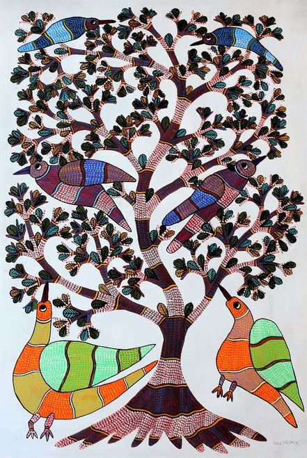 Gond paintings, Tribal Painting, Art Painting, Gond Artist Handpainted, Original gond Art painting,Gond Tribal Art Painting,ART_2114_17078,Artist : Tribal Valley Digital Shopping,Acrylic