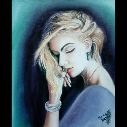 girl painting , women painting , painting for mom,mysterious girl,ART_2112_17072,Artist : Mona Sharma,Oil