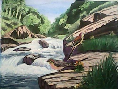 landscape , Birds scenery,Birds scenery,ART_2112_17066,Artist : Mona Sharma,Oil