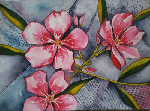 ,pink flower-2,ART_1243_17210,Artist : Ujwala Chavan,Water Colors