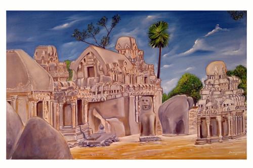 PANCHA RATHAS ,PANCHA RATHAS,ART_1647_17224,Artist : Kumaraswamy Ganapathy,Oil