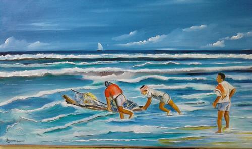 ,fisherman with kattumaram,ART_1647_17220,Artist : Kumaraswamy Ganapathy,Oil