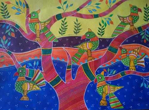 ,Tribal art series-Parrots,ART_1243_17275,Artist : Ujwala Chavan,Acrylic