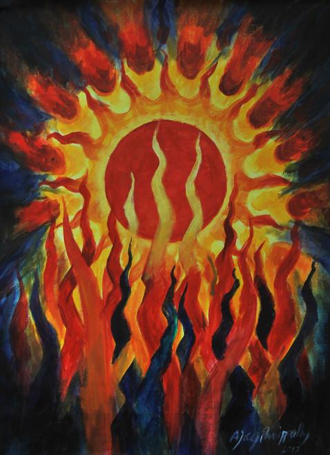 Sun, fire, red, suriya, god, yagam,Suriyayag,ART_1088_17274,Artist : Ajay Parippally,Acrylic