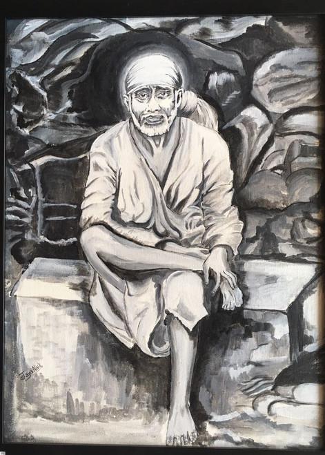Sai Tranquility,Om sai ram,ART_2132_17270,Artist : Jayalakshmi Naik,Acrylic