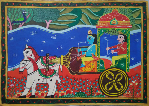 krishna, religious , spiritual,Sarathi-Krishna Arjun,ART_1243_14884,Artist : Ujwala Chavan,Acrylic