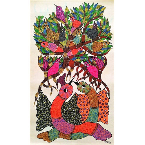 Gond paintings, Tribal Painting, Art Painting, Gond Artist Handpainted, Original gond Art painting,Gond Tribal Art Painting,ART_2114_17342,Artist : Tribal Valley Digital Shopping,Acrylic