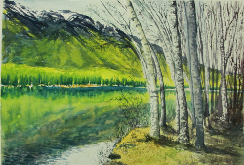 Mountains, Peace, Tranquility, reflections, mirror,Mirror,ART_2154_17347,Artist : Shridhana Pillai,Water Colors