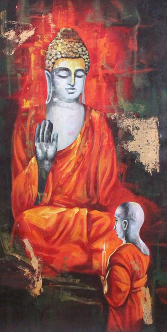 Buddha ,Buddha with monk 02,ART_1522_17405,Artist : Ram Achal,Acrylic