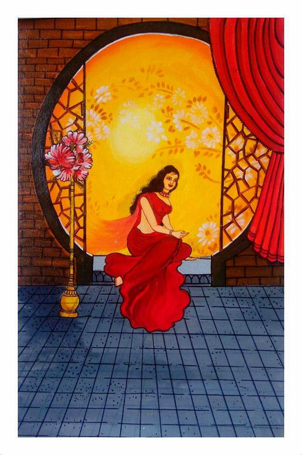 FIGURATIVE,A LADY,ART_1033_17423,Artist : PARESH MORE,Acrylic