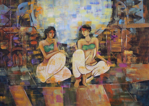 Woman ,Two women,ART_1522_15134,Artist : Ram Achal,Acrylic