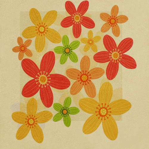 FlowersAndStars - 18in X 18in - Painting
