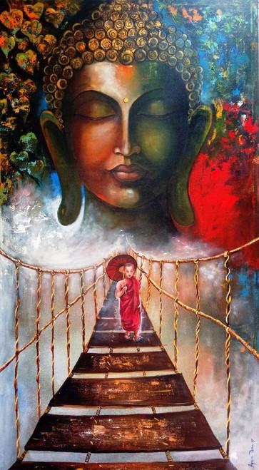 black, white,blue,golden, broun,Buddha and Monk child # 3,ART_82_17493,Artist : Arjun Das,Acrylic