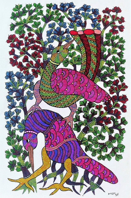 Gond paintings, Tribal Painting, Art Painting, Gond Artist Handpainted, Original gond Art painting,Gond Tribal Art Painting,ART_2114_17376,Artist : Tribal Valley Digital Shopping,Acrylic