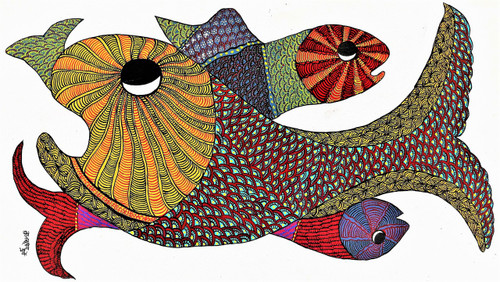 Gond paintings, Tribal Painting, Art Painting, Gond Artist Handpainted, Original gond Art painting,Gond Tribal Art Painting,ART_2114_17375,Artist : Tribal Valley Digital Shopping,Acrylic