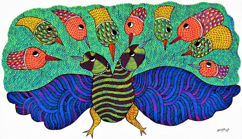 Gond paintings, Tribal Painting, Art Painting, Gond Artist Handpainted, Original gond Art painting,Gond Tribal Art Painting,ART_2114_17372,Artist : Tribal Valley Digital Shopping,Acrylic