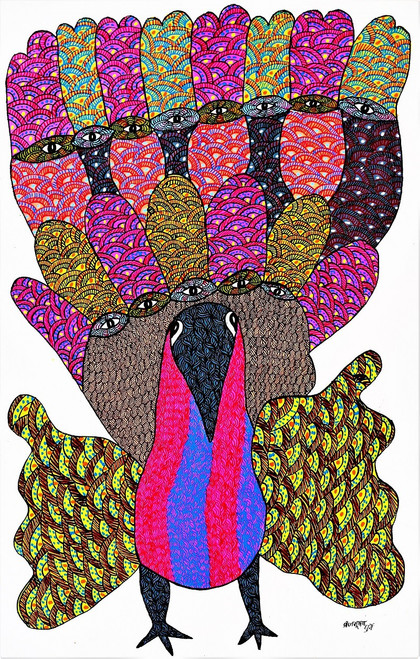 Gond paintings, Tribal Painting, Art Painting, Gond Artist Handpainted, Original gond Art painting,Gond Tribal Art Painting,ART_2114_17371,Artist : Tribal Valley Digital Shopping,Acrylic