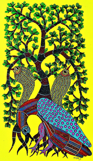 Gond paintings, Tribal Painting, Art Painting, Gond Artist Handpainted, Original gond Art painting,Gond Tribal Art Painting,ART_2114_17369,Artist : Tribal Valley Digital Shopping,Acrylic