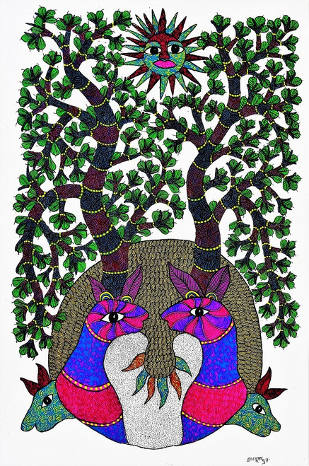 Gond paintings, Tribal Painting, Art Painting, Gond Artist Handpainted, Original gond Art painting,Gond Tribal Art Painting,ART_2114_17368,Artist : Tribal Valley Digital Shopping,Acrylic