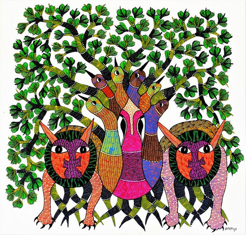 Gond paintings, Tribal Painting, Art Painting, Gond Artist Handpainted, Original gond Art painting,Gond Tribal Art Painting,ART_2114_17367,Artist : Tribal Valley Digital Shopping,Acrylic