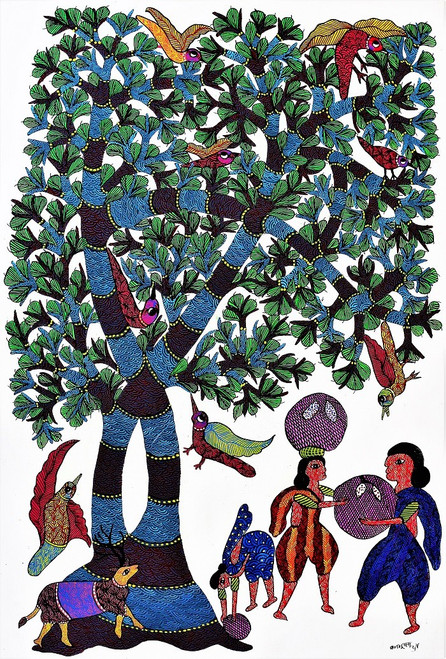 Gond paintings, Tribal Painting, Art Painting, Gond Artist Handpainted, Original gond Art painting,Gond Tribal Art Painting,ART_2114_17366,Artist : Tribal Valley Digital Shopping,Acrylic