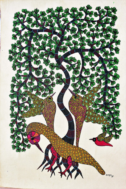 Gond paintings, Tribal Painting, Art Painting, Gond Artist Handpainted, Original gond Art painting,Gond Tribal Art Painting,ART_2114_17365,Artist : Tribal Valley Digital Shopping,Acrylic