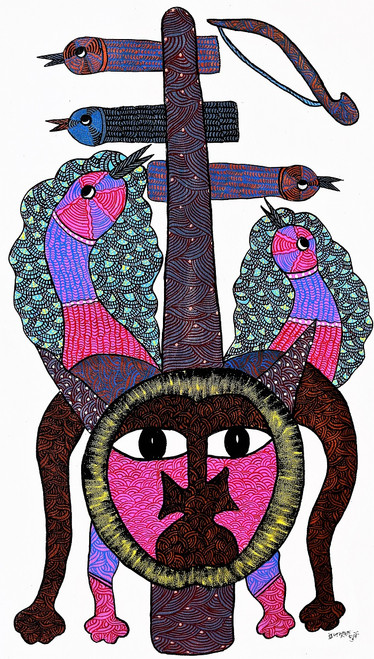 Gond paintings, Tribal Painting, Art Painting, Gond Artist Handpainted, Original gond Art painting,Gond Tribal Art Painting,ART_2114_17364,Artist : Tribal Valley Digital Shopping,Acrylic