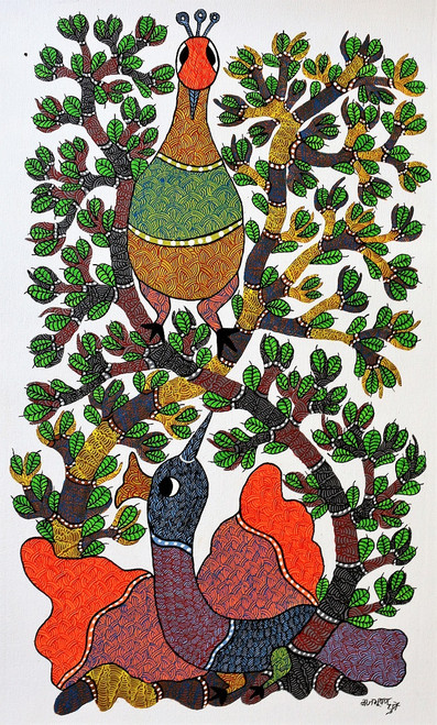 Gond paintings, Tribal Painting, Art Painting, Gond Artist Handpainted, Original gond Art painting,Gond Tribal Art Painting,ART_2114_17363,Artist : Tribal Valley Digital Shopping,Acrylic