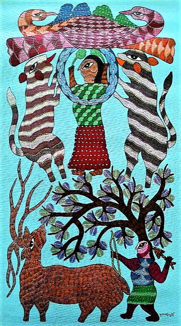 Gond paintings, Tribal Painting, Art Painting, Gond Artist Handpainted, Original gond Art painting,Gond Tribal Art Painting,ART_2114_17362,Artist : Tribal Valley Digital Shopping,Acrylic