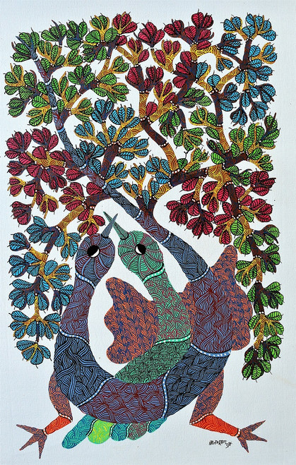 Gond paintings, Tribal Painting, Art Painting, Gond Artist Handpainted, Original gond Art painting,Gond Tribal Art Painting,ART_2114_17361,Artist : Tribal Valley Digital Shopping,Acrylic