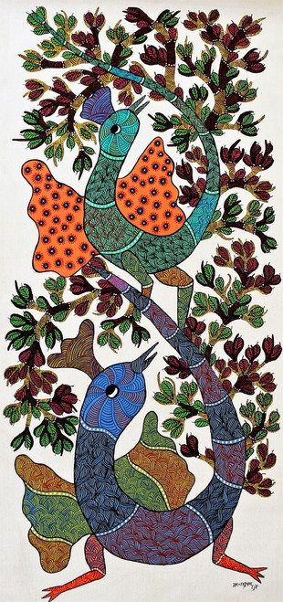 Gond paintings, Tribal Painting, Art Painting, Gond Artist Handpainted, Original gond Art painting,Gond Tribal Art Painting,ART_2114_17360,Artist : Tribal Valley Digital Shopping,Acrylic