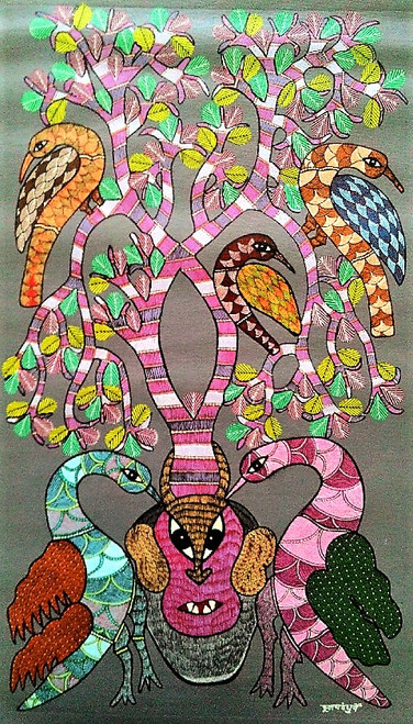 Gond paintings, Tribal Painting, Art Painting, Gond Artist Handpainted, Original gond Art painting,Gond Tribal Art Painting,ART_2114_17358,Artist : Tribal Valley Digital Shopping,Acrylic