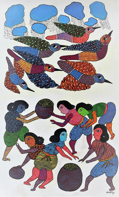 Gond paintings, Tribal Painting, Art Painting, Gond Artist Handpainted, Original gond Art painting,Gond Tribal Art Painting,ART_2114_17356,Artist : Tribal Valley Digital Shopping,Acrylic