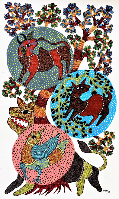 Gond paintings, Tribal Painting, Art Painting, Gond Artist Handpainted, Original gond Art painting,Gond Tribal Art Painting,ART_2114_17354,Artist : Tribal Valley Digital Shopping,Acrylic