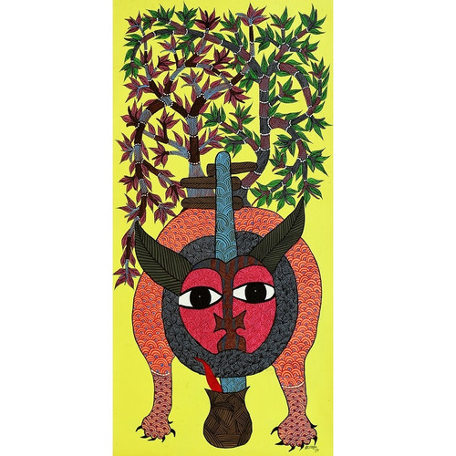 Gond paintings, Tribal Painting, Art Painting, Gond Artist Handpainted, Original gond Art painting,Gond Tribal Art Painting,ART_2114_17352,Artist : Tribal Valley Digital Shopping,Acrylic