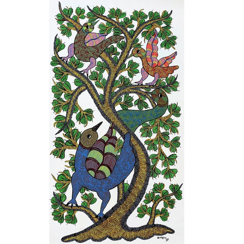 Gond paintings, Tribal Painting, Art Painting, Gond Artist Handpainted, Original gond Art painting,Gond Tribal Art Painting,ART_2114_17349,Artist : Tribal Valley Digital Shopping,Acrylic