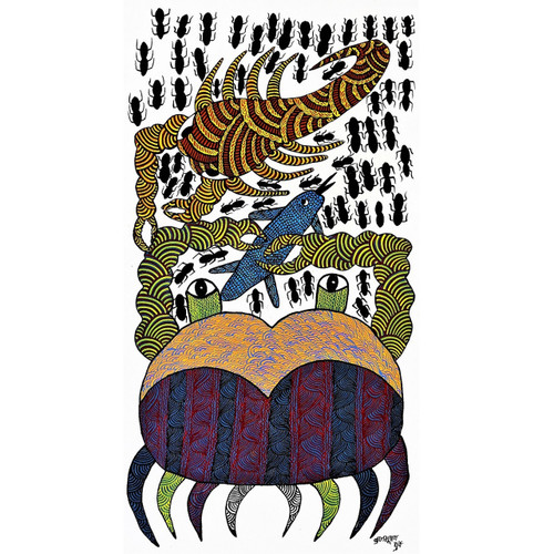 Gond paintings, Tribal Painting, Art Painting, Gond Artist Handpainted, Original gond Art painting,Gond Tribal Art Painting,ART_2114_17346,Artist : Tribal Valley Digital Shopping,Acrylic