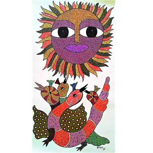 Gond paintings, Tribal Painting, Art Painting, Gond Artist Handpainted, Original gond Art painting,Gond Tribal Art Painting,ART_2114_17345,Artist : Tribal Valley Digital Shopping,Acrylic