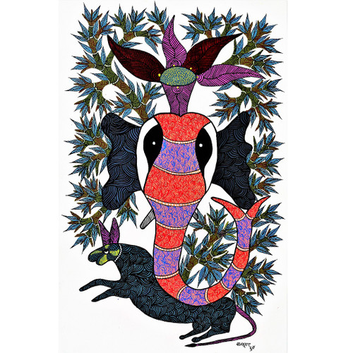 Gond paintings, Tribal Painting, Art Painting, Gond Artist Handpainted, Original gond Art painting,Gond Tribal Art Painting,ART_2114_17341,Artist : Tribal Valley Digital Shopping,Acrylic