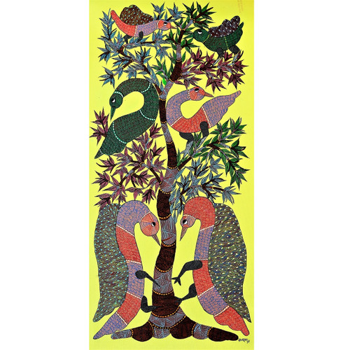 Gond paintings, Tribal Painting, Art Painting, Gond Artist Handpainted, Original gond Art painting,Gond Tribal Art Painting,ART_2114_17339,Artist : Tribal Valley Digital Shopping,Acrylic