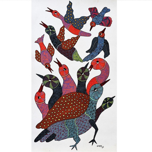 Gond paintings, Tribal Painting, Art Painting, Gond Artist Handpainted, Original gond Art painting,Gond Tribal Art Painting,ART_2114_17338,Artist : Tribal Valley Digital Shopping,Acrylic