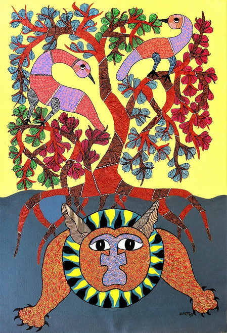 Gond paintings, Tribal Painting, Art Painting, Gond Artist Handpainted, Original gond Art painting,Gond Tribal Art Painting,ART_2114_17076,Artist : Tribal Valley Digital Shopping,Acrylic
