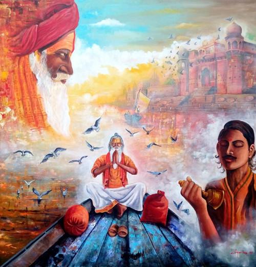 red,orange,white,banarash,ART_82_13231,Artist : Arjun Das,Acrylic
