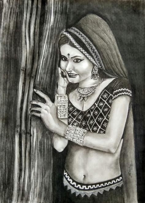 ladies, rajasthani,  figurative, Charcoal drawing, beauty, paper,RAJASTHANI BEAUTY 1,ART_1455_17511,Artist : SNEHA SNEHA,Charcoal