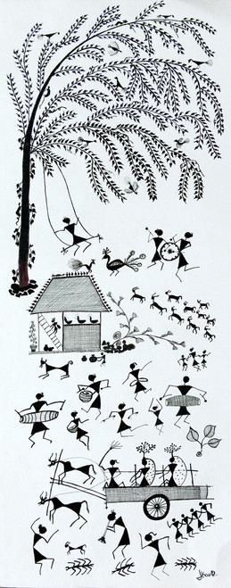 ANCIENT TRADITIONAL PAINTING,WARLI,ART_2050_17283,Artist : PUNN HARPREET KAUR,Acrylic