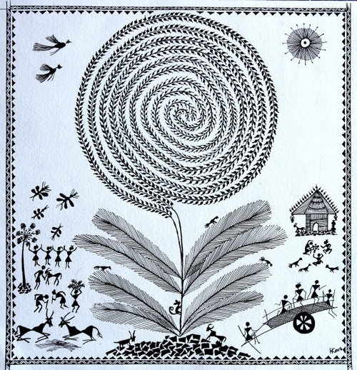 ANCIENT TRADITIONAL PAINTING,WARLI,ART_2050_16611,Artist : PUNN HARPREET KAUR,Acrylic