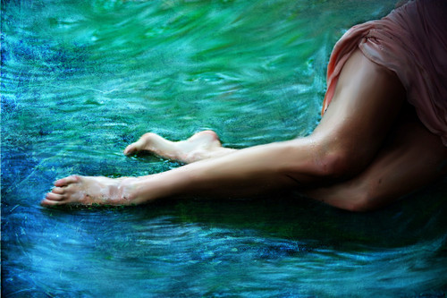Blue, legs, water, abstract,Ocean Blue,MTO_1550_17589,Artist : Community Artists Group,Mixed Media