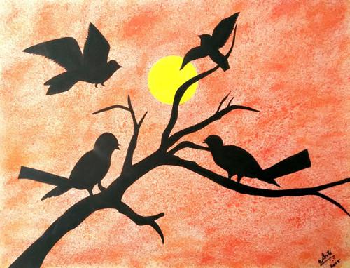 ,Birds during sunrise,ART_1403_17552,Artist : AARATHI MANIKANDAN,Water Colors
