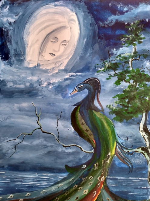 The moon, Peacock,Night,Night sky,Lake,River,Silver lady,The Moon and The Peacock,ART_2144_17569,Artist : Anirban Kar,Poster Colors