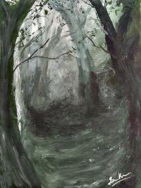 Dark forest,Forest,Indian art,Art at low cost,Landscape,Nature,Depth forest,The depth of forest,ART_2144_17565,Artist : Anirban Kar,Poster Colors